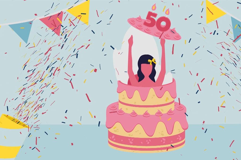 illustration d'une femme sortant d'un gâteau qui célèbre les 50 ans de la sécurité sociale des travailleurs indépendants